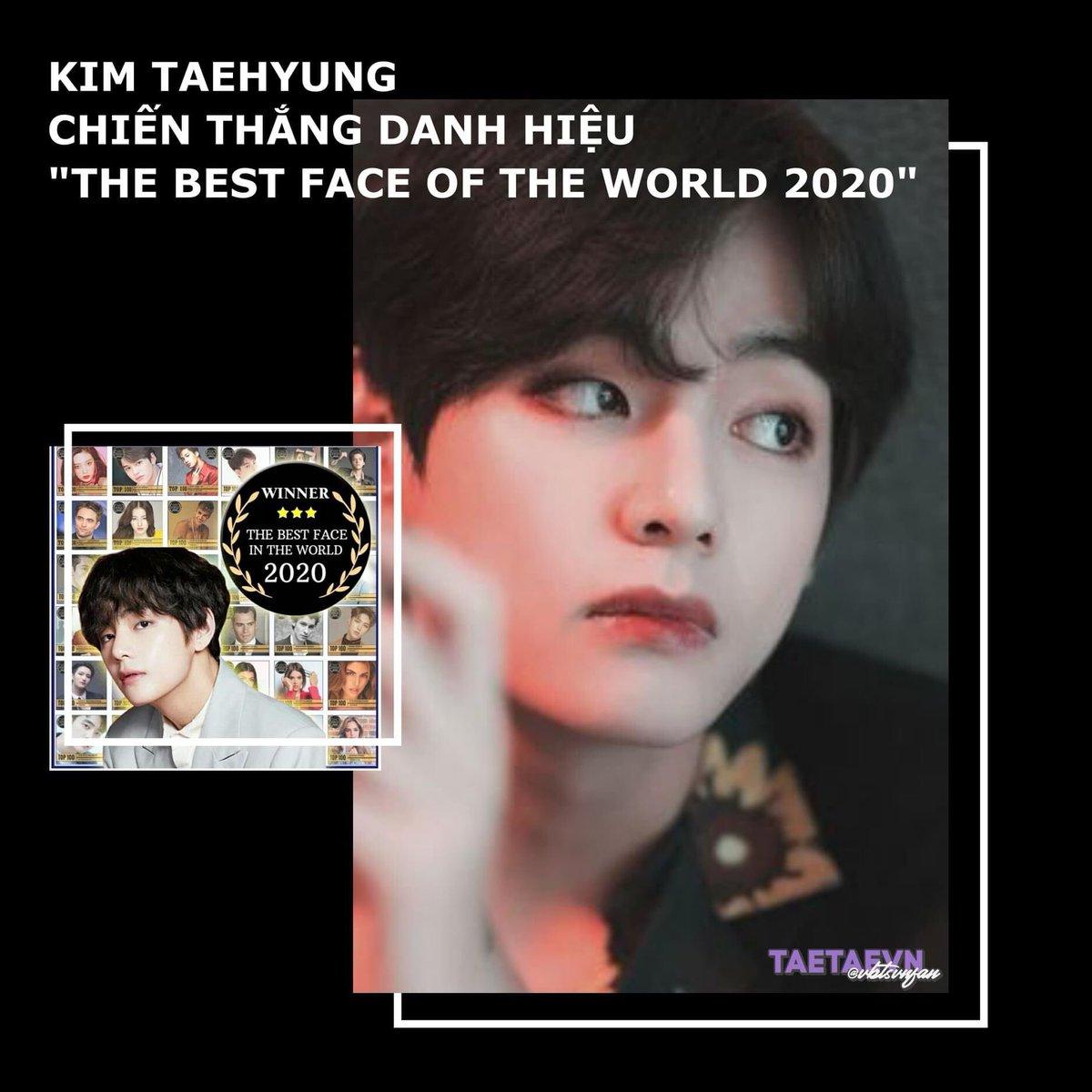 Chúc mừng Taehyung chiến thắng danh hiệu The Best Face Of The World 2020.  #VBestFace2020 방탄소년단 뷔 #방탄소년단뷔 #뷔 #김태형 #태형 #BTSV #V #TAEHYUNG https://t.co/JH1bPqdNI9