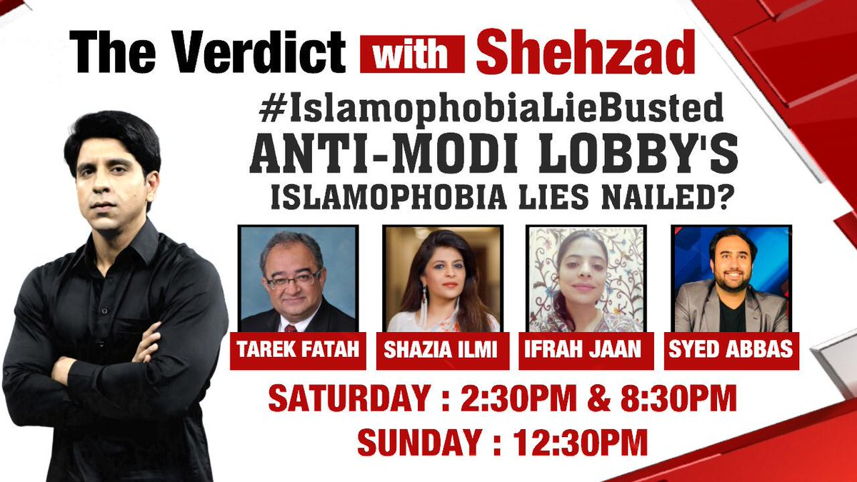 The Verdict with @Shehzad_Ind | Watch a power packed panel join NewsX for a special show at 2:30 pm and 8:30 pm today. . . . Don't forget to tune in! #IslamophobiaLieBusted @TarekFatah @shaziailmi @MCABBAS