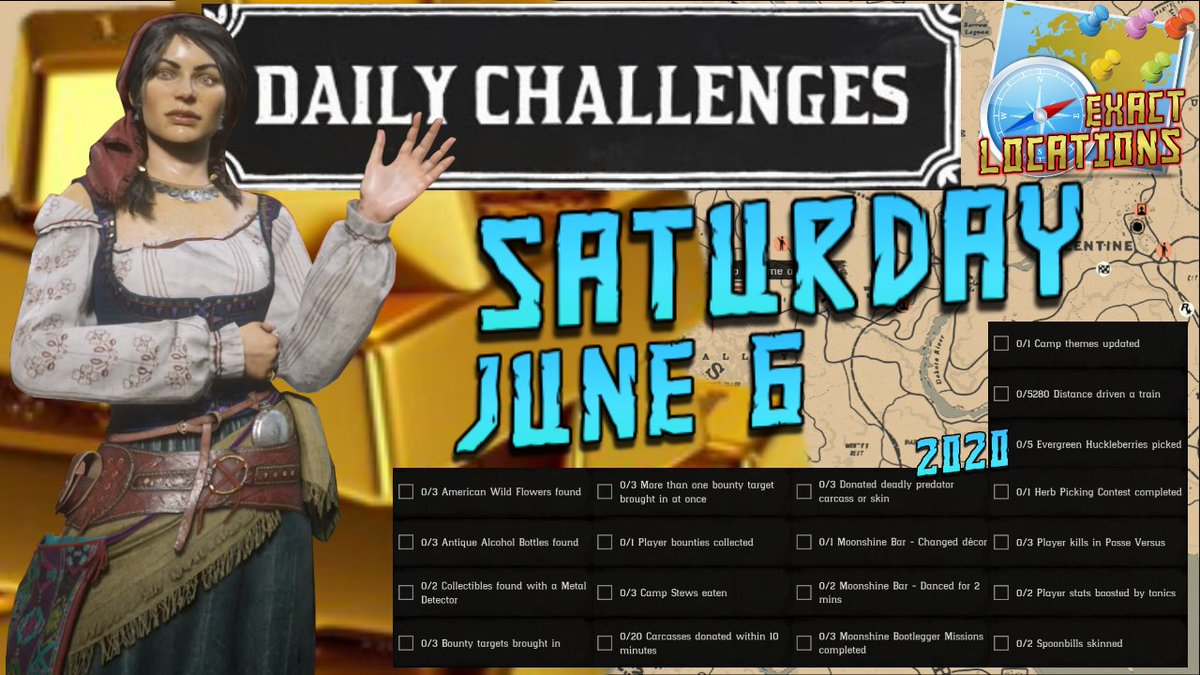 Daily Challenges Madam Nazar Evergreen Huckleberry Spoonbill Locations RDR2 Red Dead Online (6/6/20)  https://youtu.be/38Bf6oamaFY   #RedDead #RedDeadOnline #RedDeadRedemption #RedDeadRedemption2 #RDR2 #RDR2Online #DailyChallenges #RedDeadDailyChallengespic.twitter.com/df5bLpwoDg