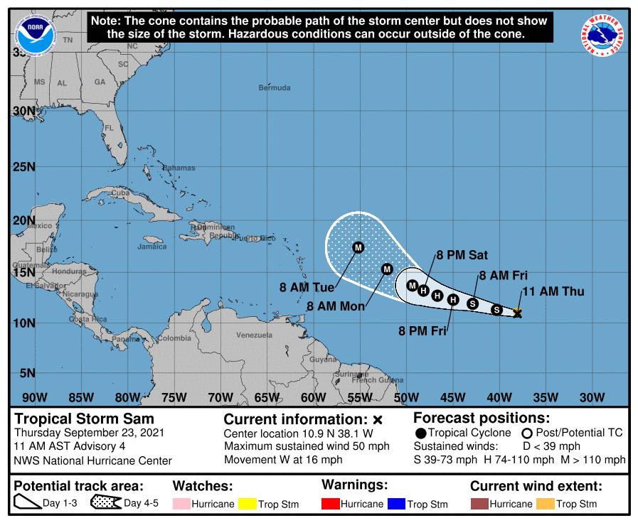 La tempête tropicale #Sam, 18ème système de la saison est née dans l'Atlantique. Sam devrait devenir un ouragan demain puis un ouragan majeur en fin de week-end. Une incertitude demeure quant à sa trajectoire la semaine prochaine.