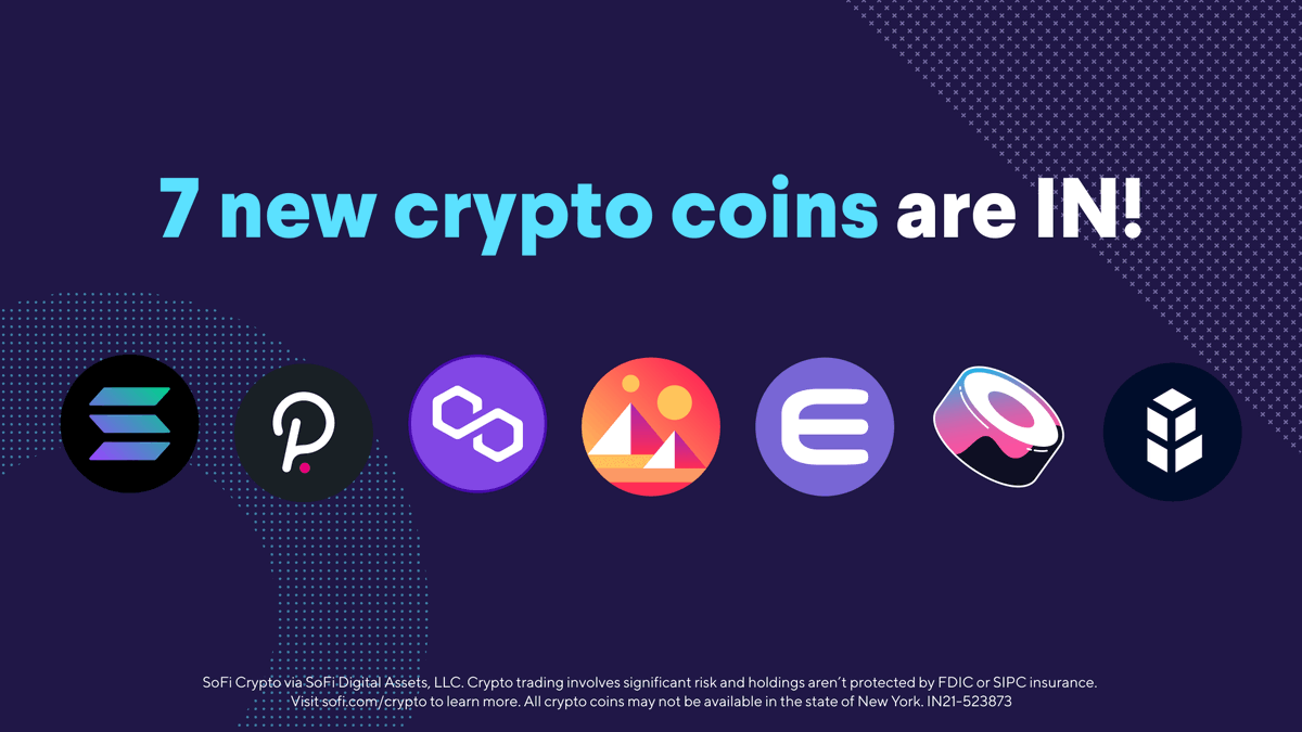 test Twitter Media - Crypto alert: 7️⃣  new coins have hit SoFi Invest! Now you can trade Solana, Polygon, Polkadot, and 25 more coins around the clock. Plus, get $10 in bitcoin when you make your first #crypto trade! 🤝→ https://t.co/rojVXHBy01 https://t.co/G5kbRnCbJK