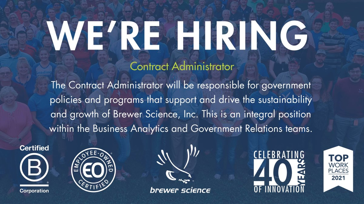 test Twitter Media - Brewer Science is looking for a Contract Administrator to join our team in Rolla, MO. The Contract Administrator will be responsible for government policies and programs that support and drive sustainability and growth. Learn more about the position: https://t.co/fqGCsOOAWT https://t.co/BXPlHXbset