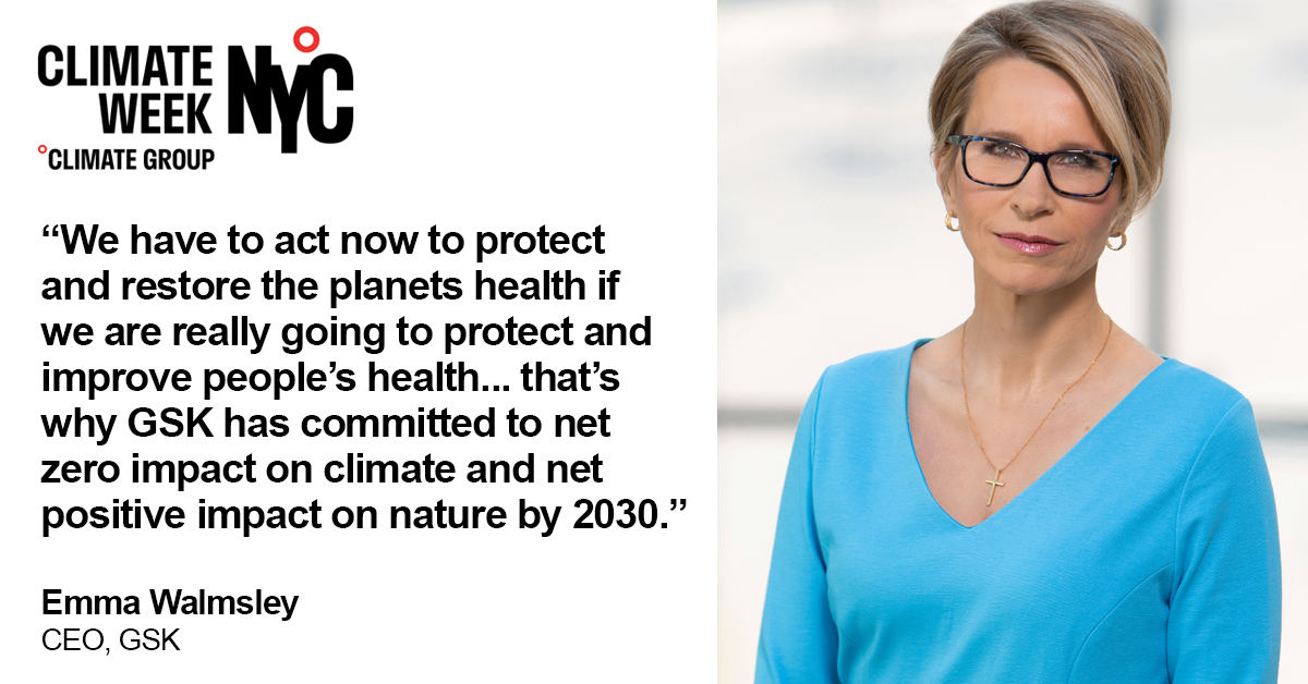 At #ClimateWeekNYC this week Emma Walmsley shared actions we're taking to reduce our climate impact and called for collaboration at pace to protect climate, nature and health. 🌍    Learn more: https://t.co/CXdcH2983j   #climatechange #netzero #naturepositive https://t.co/OEoCocd3Ft