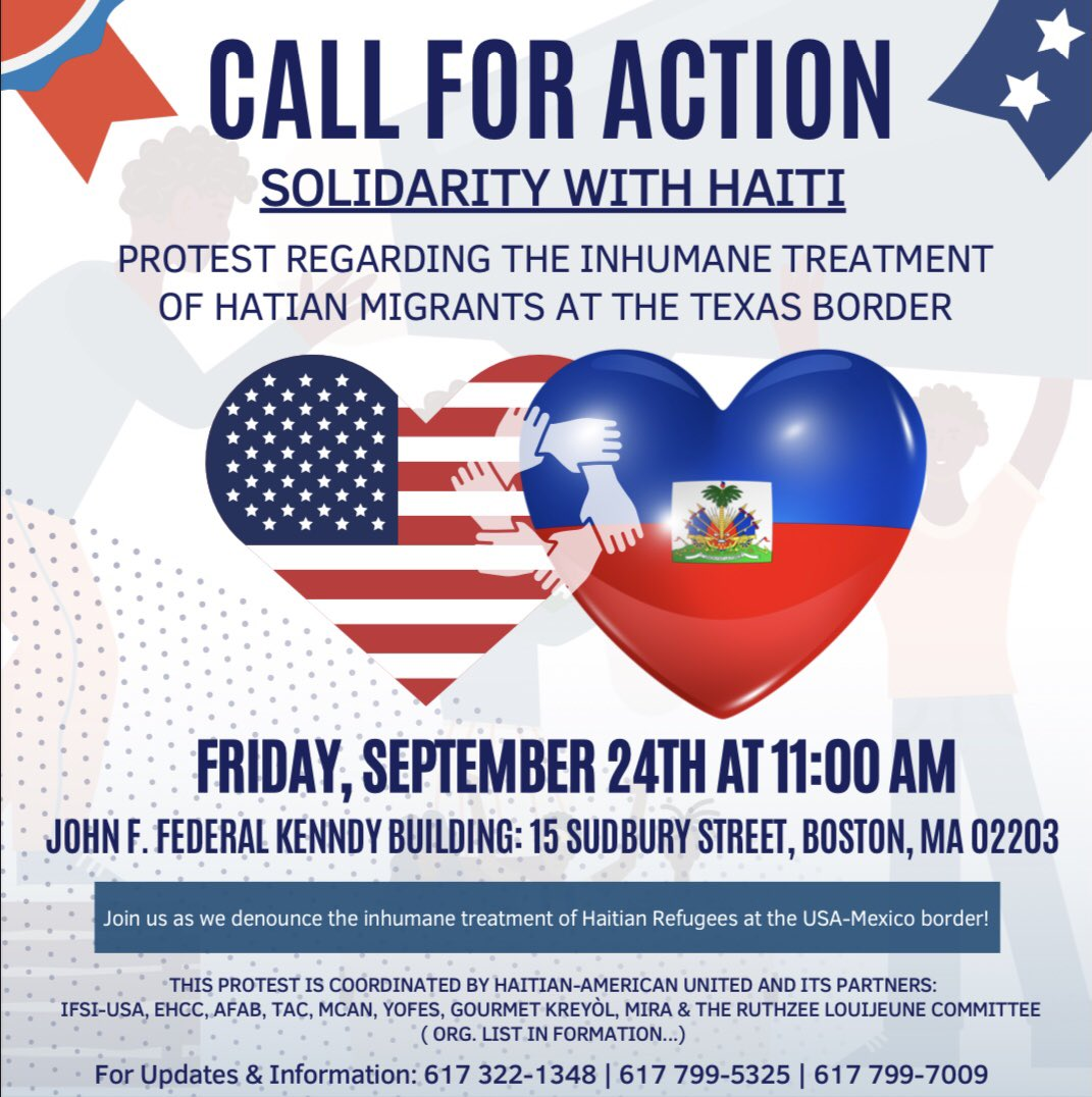 This is today at 11AM. Thank you to @ruthzee4boston for your leadership, and to all in our #HaitianAmerican community and beyond who are organizing against the inhumane treatment and deportation of Haitian refugees at our border. #bospoli #mapoli https://t.co/xQBuOSjqSf
