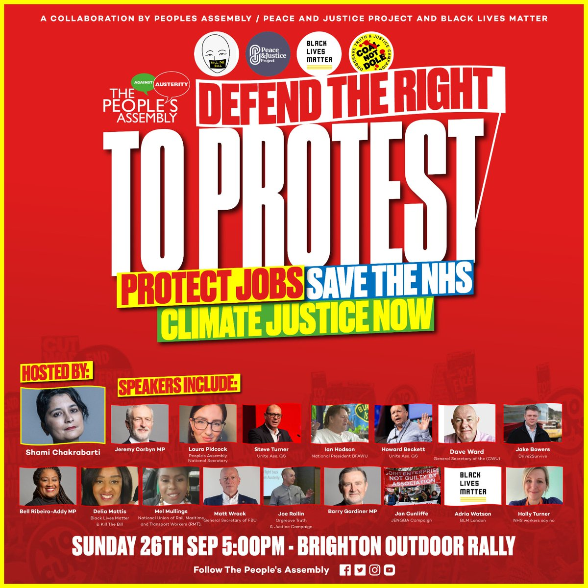 I'm excited to join people, campaigners and organisations from across our movement in Brighton on Sunday standing up to defend the right to protest so we can protect jobs, save the NHS and deliver climate justice.