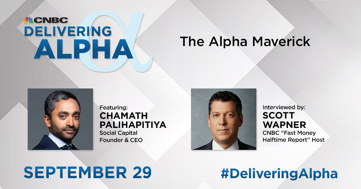 .@Chamath's made a name for himself as an innovative investor, a creative capitalist, and somebody who's not afraid of speaking his mind... He joins @ScottWapnerCNBC in one of many high-level discussions slated for next week's @DeliveringAlpha. Register: bit.ly/3lNoVH9