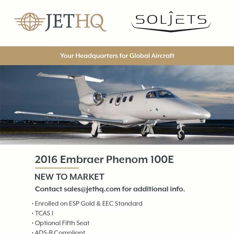 New to market - 2016 #Phenom #100E at @JetHQAv  Enrolled on ESP Gold & EEC Standard ADS-B Compliant More details at: https://t.co/X13wciVmdy  #bizjet #bizav #aircraftforsale #privatejet #privateflying #jetforsale #businessaviation