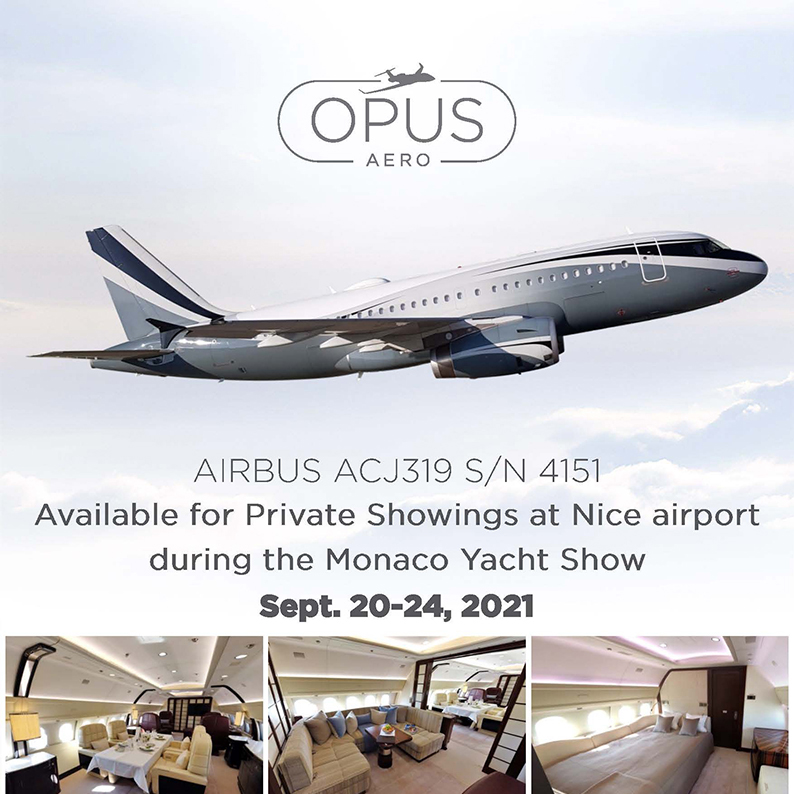 #Airbus #ACJ319 - available at @OpusAeronautics    Available for private showings at Nice airport during the Monaco Yacht Show More details at: https://t.co/oygZNRztr2  #bizjet #bizav #aircraftforsale #privatejet #privateflying #jetforsale #businessaviation