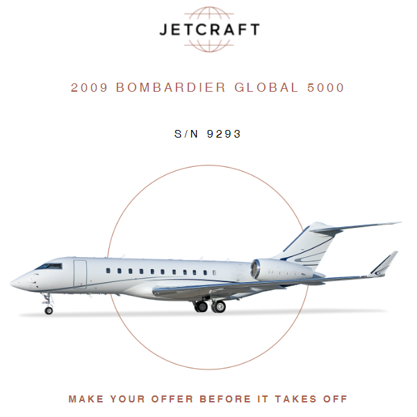 2009 #Bombardier #Global 5000 available at @JetcraftCorp    Engines Enrolled on RRCC APU Enrolled on MSP More details at: https://t.co/bgJiHcpMPQ  #aircraftforsale #privatejet #privateflying #jetforsale #businessaviation