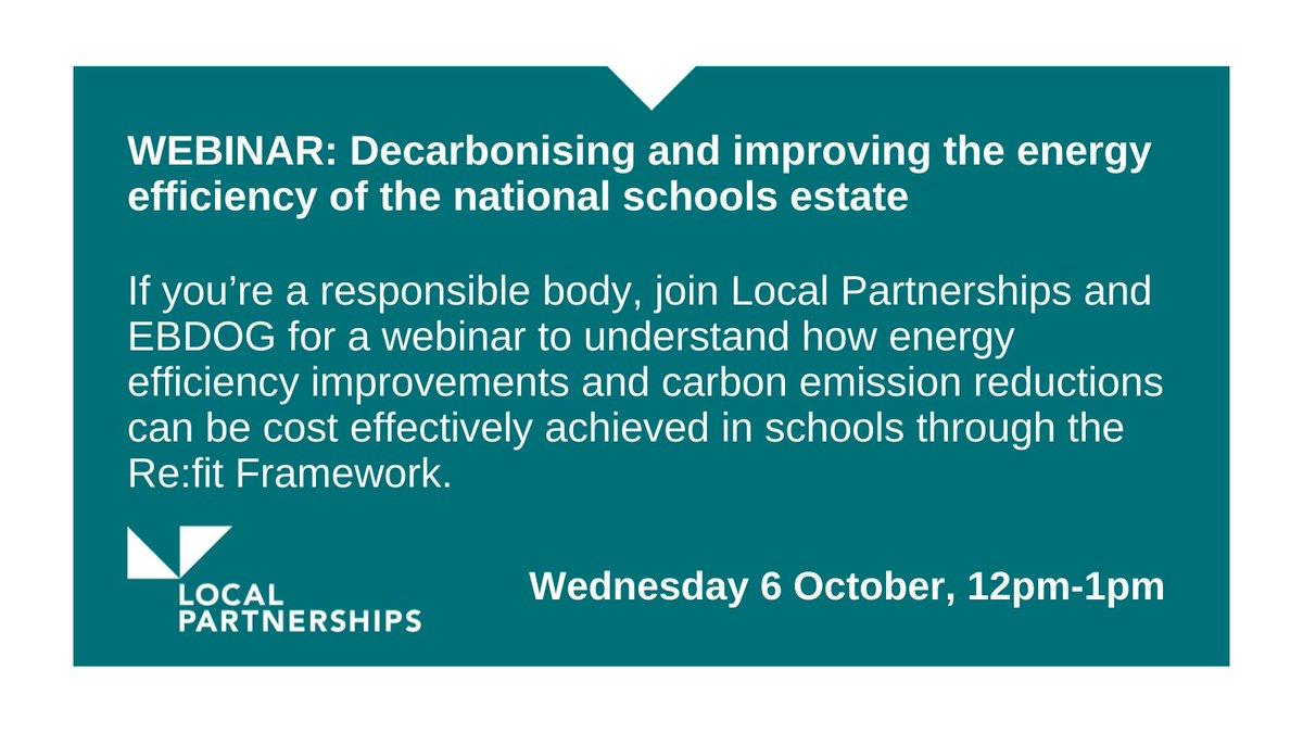 If you're a responsible body, join us and EBDOG for a webinar to understand how energy efficiency improvements and carbon emission reductions can be cost effectively achieved in schools. Register here: https://t.co/iA5bVFWxpR