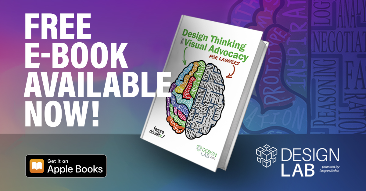 """Download our free e-book """"Design Thinking and Visual Advocacy for Lawyers!"""" It serves as a resource for legal professionals looking to use design thinking and visual advocacy.  Download from our website. https://bit.ly/3i28mWD  Download from Apple Books: https://apple.co/3nXI1Nm"""