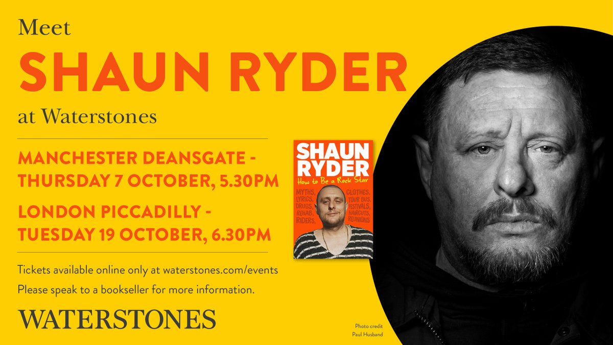 NEW ANNOUNCEMENT!!! 🤓 📚 Shaun will be at @WaterstonesMCR 7.10.21. & @WaterstonesPicc 19.10.21. signing copies of his new book How to Be a Rock Star! Tickets and info here: bit.ly/3CEvtOT #ShaunRyder #SWR #Book #Newrelease @Waterstones