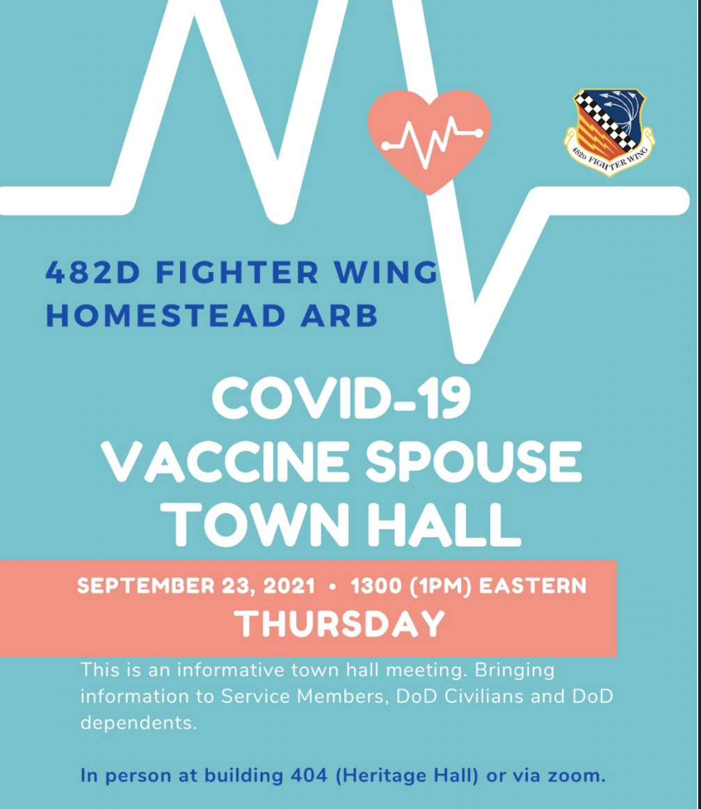 Join us for our #COVID19 Vaccine Spouse Town Hall this Thursday at 1 p.m. EST in-person at Heritage Hall (building 404) or via Zoom. For more information and the Zoom link, contact the Airman and Family Readiness Center at (786) 415-7329. #HARB #HARBReady #ReserveReady