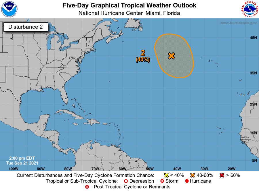 2PM EDT 21 September: In addition to #Peter & #Rose, there are 2⃣ areas of interest with 5-day development chances in the Atlantic basin. 1) A tropical wave SW of the Cabo Verde Islands (90%🔴) 2) A gale-force non-tropical low WNW of the Azores (40%🟠) nhc.noaa.gov/gtwo.php?basin…