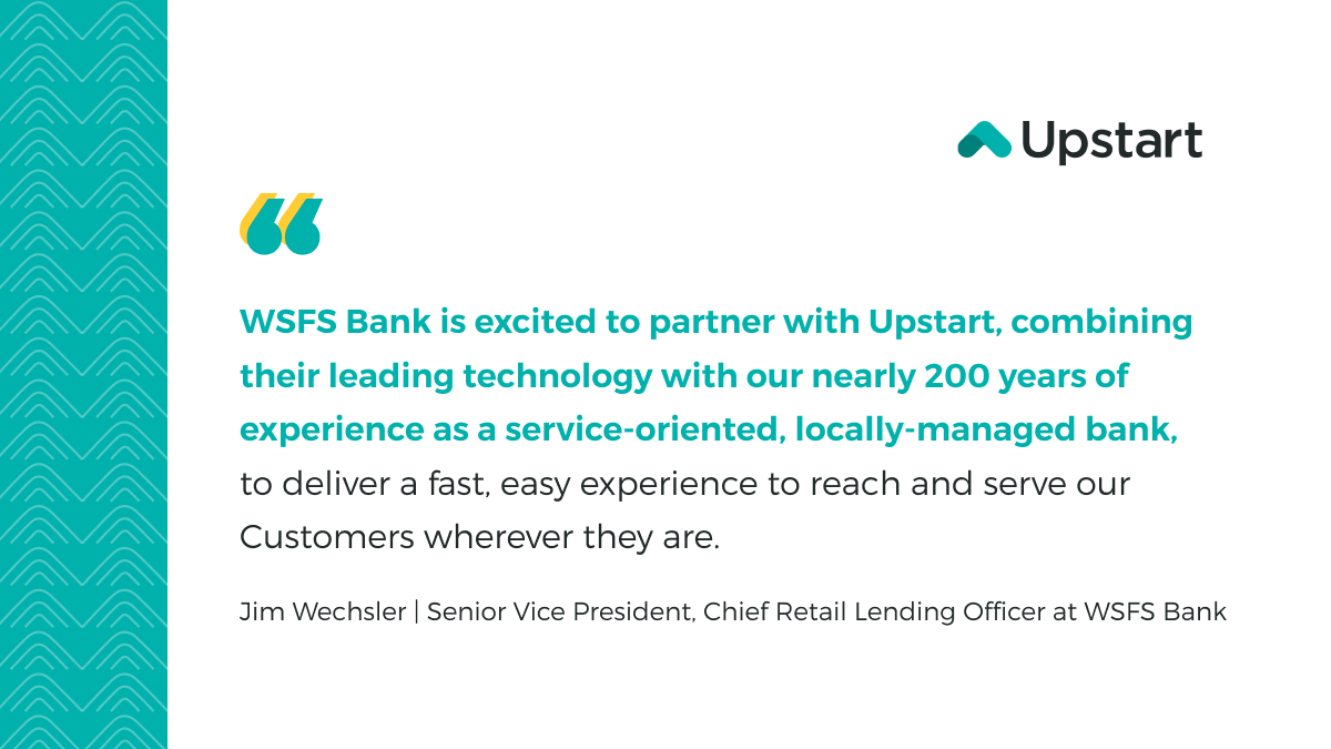 test Twitter Media - We are delighted to announce that @WSFS, one of the oldest banks in the U.S., has launched Digital Personal Loans Platform, Powered by Upstart, to deliver a seamless digital-first experience to reach and serve more customers. 🎉 https://t.co/uBqQ4HmkwI