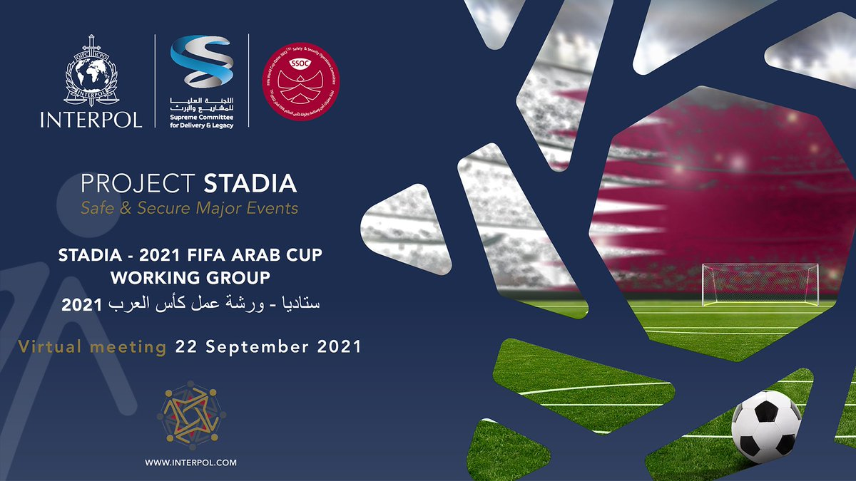 🏆The FIFA Arab Cup 2021 will be held later this year! ⚽️16 teams from across the Arab world will come together in Qatar to compete 🇶🇦.... Behind the scenes, #ProjectStadia is encouraging International Police Cooperation to support the delivery of a safe and secure event! 👮🥅