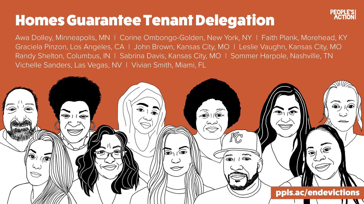 TODAY a historic delegation of tenants from Nevada, Missouri, California, Indiana, Kentucky, New York, Florida, and Minnesota will introduce a new bill to #EndEvictions, alongside @RepCori and @SenWarren.
