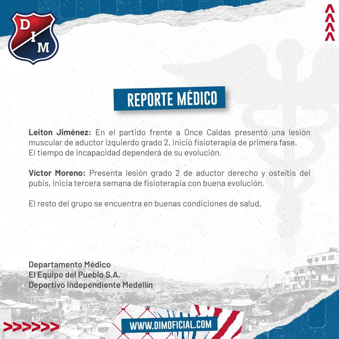 Parte médico de Leiton Jiménez y Víctor Moreno