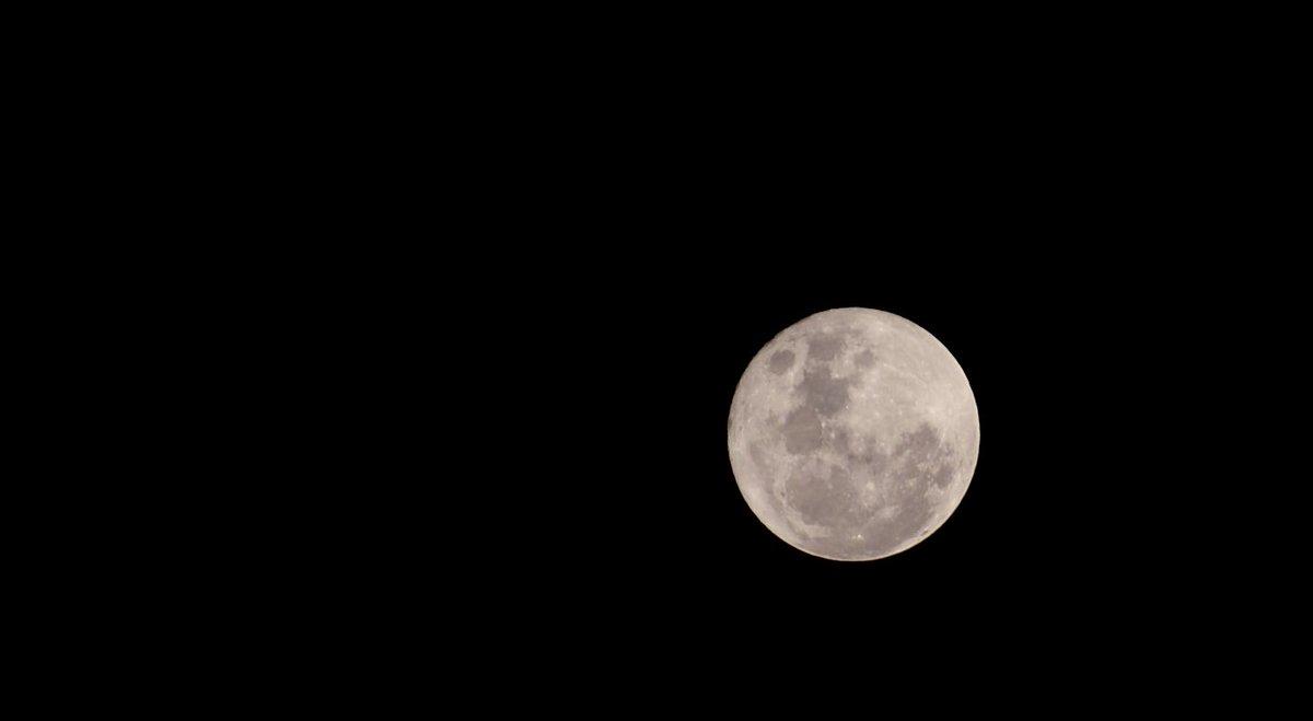 予報では見られないかと思っていたけど 良い月です🌝