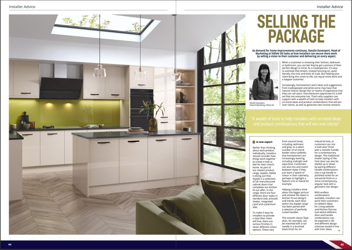 Selling the Package with Häfele UK Ltd 'A wealth of tools to help installers with on-trend ideas and product combinations that will win over clients' Read this and more in the latest issue of BiKBBI Installer Magazine issuu.com/casapublishing… #kbb #installers #kitchendesign