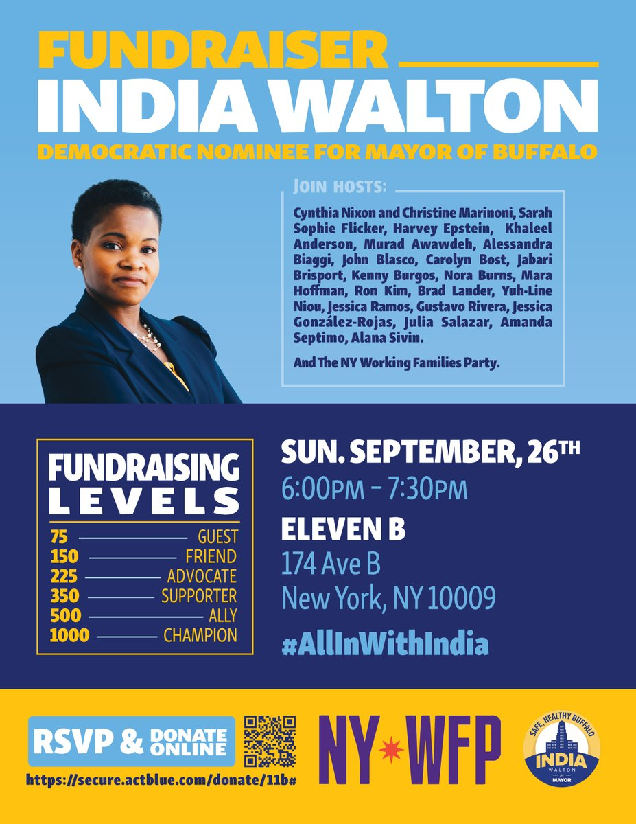 Join India Walton & NY WFP this Sunday for a special event in New York City! Get your tickets today: secure.actblue.com/donate/11b
