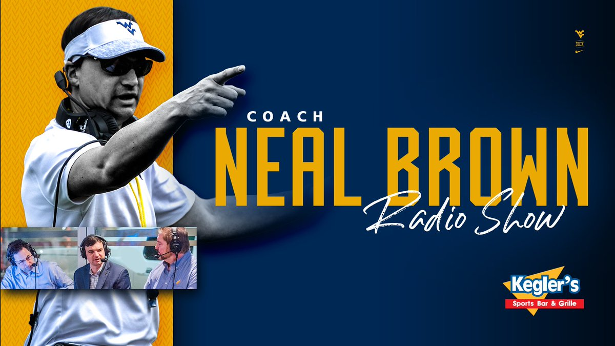 Another @NealBrown_WVU show, presented by @KeglersWV, is on tonight from 6-8 pm!  Join @TonyCaridi, @Wolfley64, and Coach Brown as they preview WVU's Big 12 opener vs. OU.  How to listen: https://t.co/dhQT1ejvs7  OR  Find your local MSN radio affiliate: https://t.co/WrBKHS2RUe https://t.co/ddXXlyRXUL