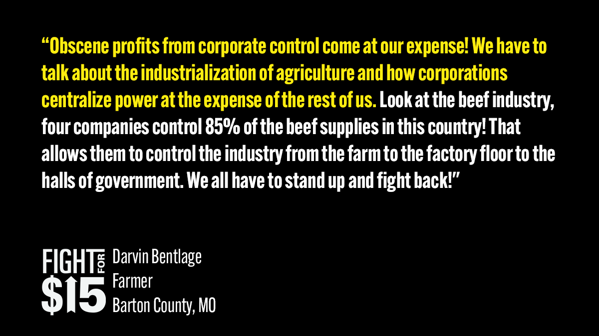 This week, fast-food workers, meat packing workers, and farmers stood together with the Missouri Rural Community Workers Alliance to speak out against corporate greed and the importance of workers standing together. #Fightfor15