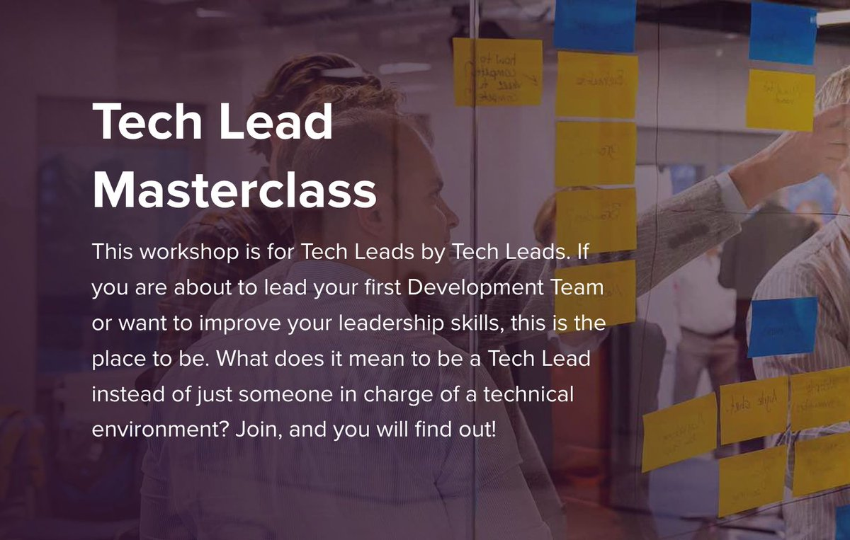 """I'm running only one in-person 🥳 workshop throughout all of 2021. If you want to join this 2-day """"Tech Lead Masterclass"""" in #Amsterdam on Nov 1 & 2 then check out the details here: xebia.com/academy/en/tra…"""