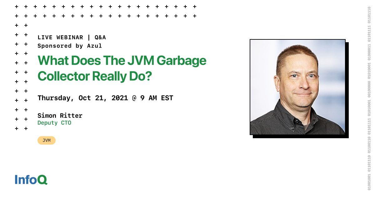 What does the JVM garbage collector really do? Learn how the memory system in the JVM works and how to get the best performance for your #JVM with minimal interruption to your application code. Oct 21, 2021 - Save your Seat bit.ly/3zpwIQ0 @AzulSystems sponsored