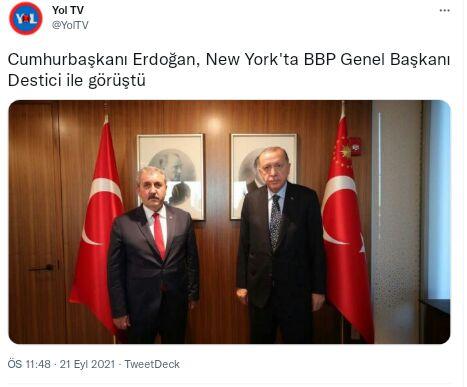 Erdoğan: New York'ta, dünya liderleriyle yoğun görüşme trafiğimiz sürüyor, yarın da Sayın Bahçeli ile görüşeceğiz