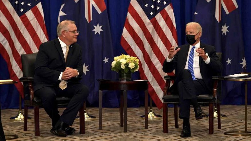 Today I met US President Joe Biden in New York to mark 70 years of our ANZUS alliance and reaffirm our AUKUS partnership announced last week with the UK. We're committed to working together to secure a free, open and resilient Indo-Pacific and tackle shared challenges.