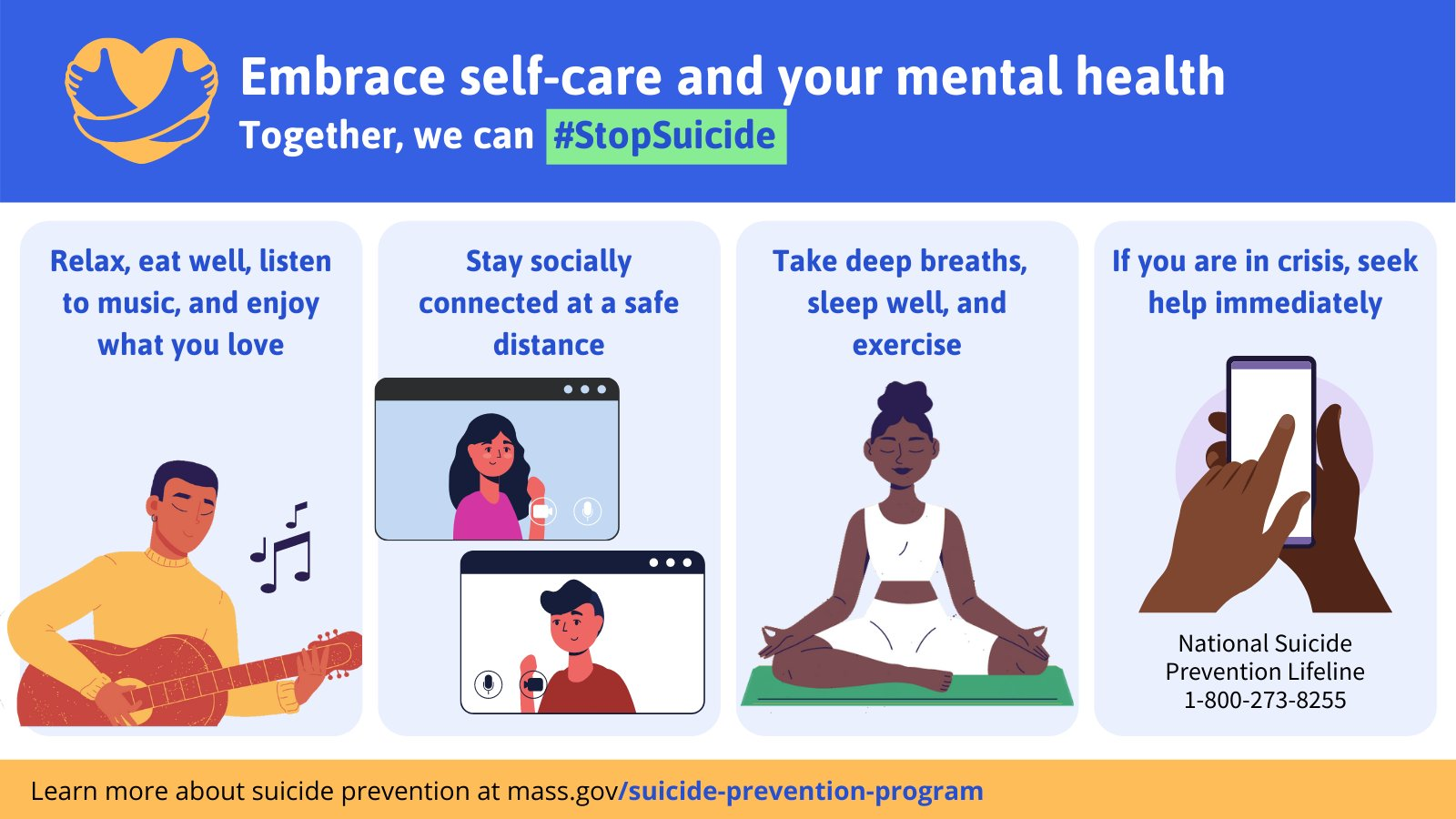 Mass. Public Health reminds us to practice self-care and support your mental health