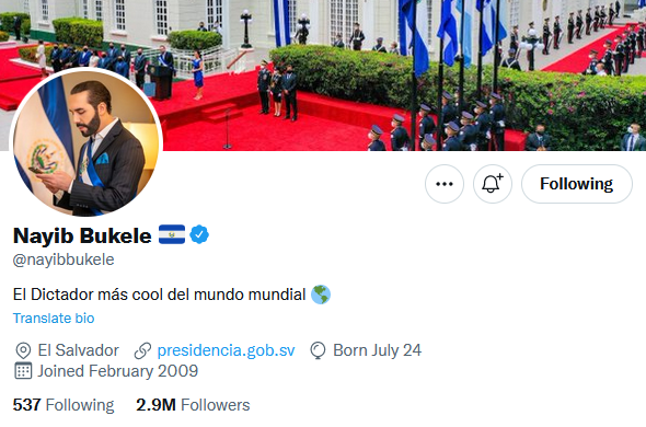 "Populism Updates on Twitter: ""Bukele changed his Twitter bio to ""Dictator  of El Salvador""… """