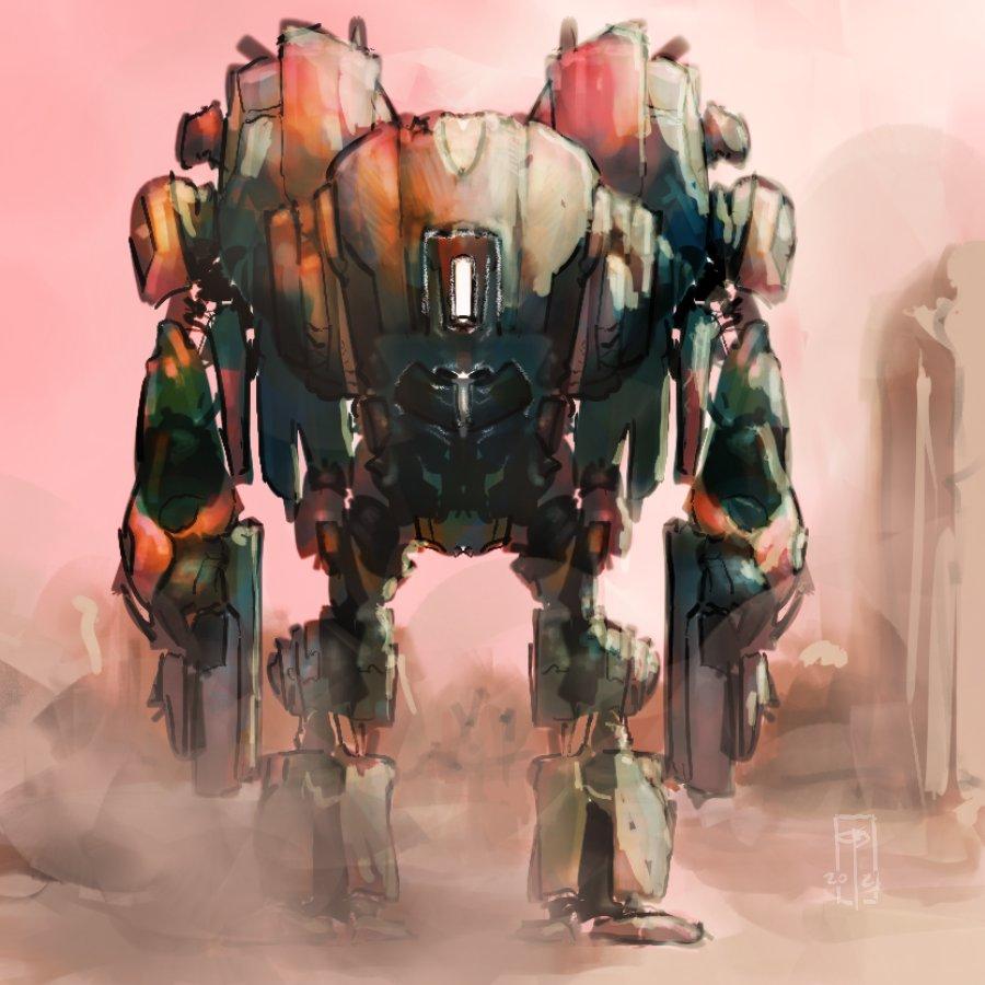 ~39min quick build sketch on breaks. #procreate #rpgart #art #digitalart #digitalartist #fantasyart #robot #mech #mecha #scifiart #scifi #conceptart #warhammer40k #40k #golem #40kdreadnought #steampunk #battletech #marchofrobots #warmachine #aliens