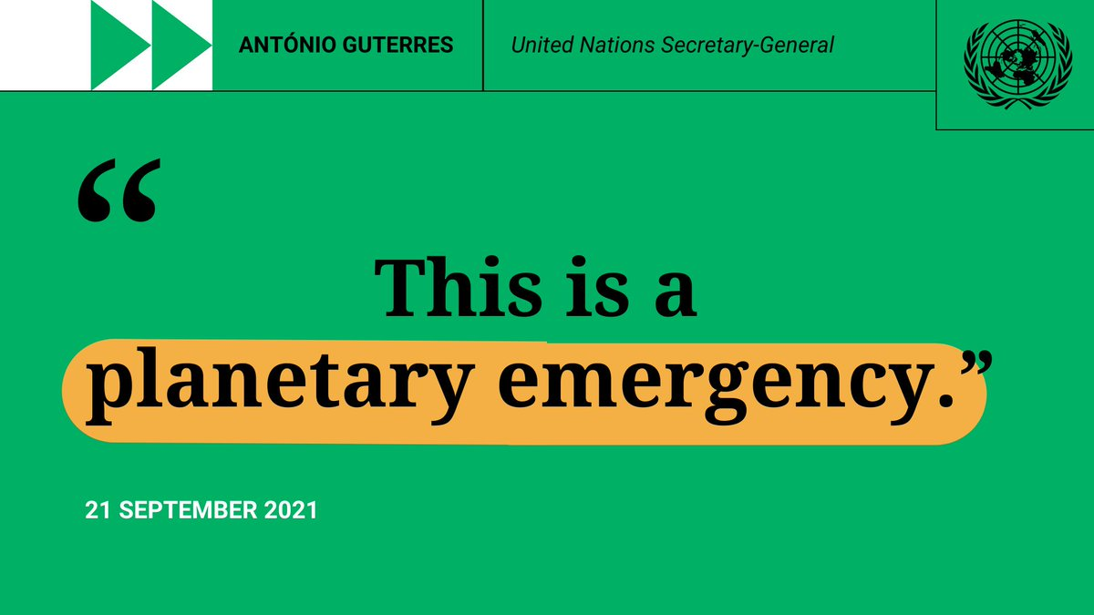 The climate alarm bells are ringing at fever pitch. Scorching temperatures. Shocking biodiversity loss. Polluted air, water & natural spaces. My message to every country: Don't wait for others to make the first move. Do your part. -- @antonioguterres at #UNGA.