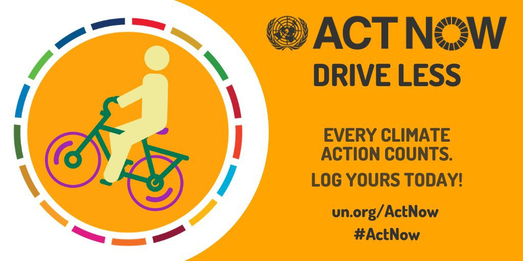 Your everyday choices can help protect the planet and all its people. On Wednesday's #WorldCarFreeDay & every day, bike 🚴, walk 🚶♀️ or take public transport 🚋 whenever possible. un.org/actnow #ActNow