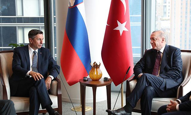 ABD'nin New York kentinde bulunan Cumhurbaşkanı Erdoğan, Slovenya Cumhurbaşkanı Pahor'la görüştü