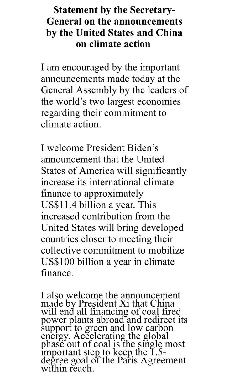 """test Twitter Media - UN Chief @antonioguterres encouraged by today's pledges by #US/ #China (the world's two largest economies) on #ClimateAction but:  """"Based on the presentemissions reductioncommitments ofMember States the world is on a *catastrophic* pathway to 2.7 degrees of heating…"""" 👇 https://t.co/89ro8hjWw8"""