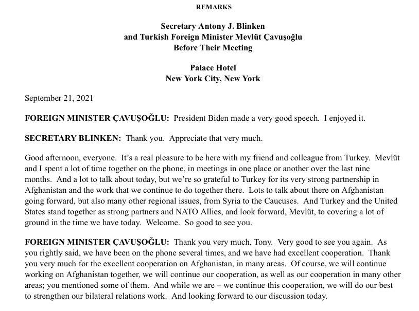 Dışişleri Bakanı Çavuşoğlu ile ABD'li mevkidaşı Blinken New York'ta görüştü.  İki ülke, Afganistan'da yakın işbirliğini sürdürme konusunda kararlılıklarını ortaya koydu.