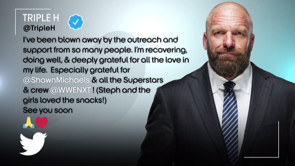 RT @WWENXT: Get well soon, @TripleH. We can't wait to see you. ❤️   #WeAreNXT #WWENXT https://t.co/MHcvWvo7g0