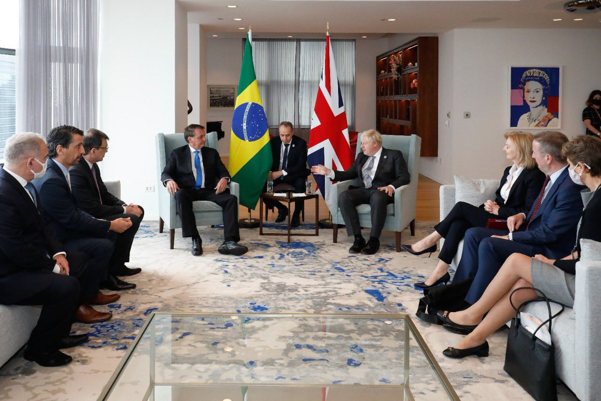 Brazil's health minister (who met and shook hands with a mask-less Boris Johnson on Monday during meeting with Jair Bolsonaro) has announced he has Covid and is isolating. In this picture he sits on the far left.
