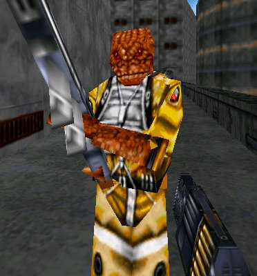 Gonna make a bot called like 'unrealistic transition goals' that just posts picture of low polygon enemies from 90s first person shooters. Doctor, what hormones can I take to become a lizard with a concussion rifle from Star Wars: Dark Forces 2: Jedi Knight?