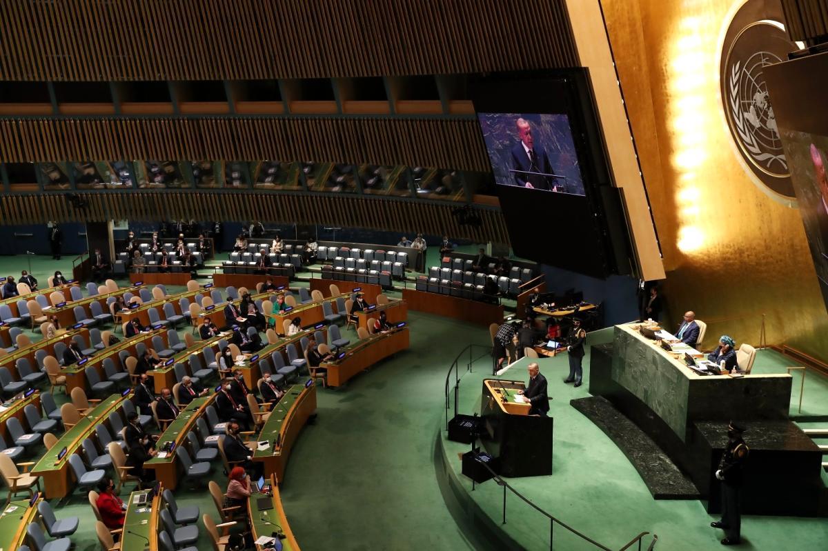 🔺Dün başlayan 76. Birleşmiş Milletler (BM) Genel Kurulu toplantısında konuşan Cumhurbaşkanı Recep Tayyip Erdoğan, iklim değişikliğine karşı mücadelenin önemine değinerek 'Paris İklim Anlaşması'nı önümüzdeki ay Meclis onayına sunmayı planlıyoruz' dedi. #AçıkGazete