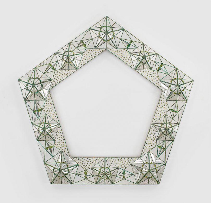 Iranian artist Monir Shahroudy Farmanfarmaian's sculptural work incorporates traditional reverse glass painting, mirror mosaics and principles of Islamic Geometry #WomensArt