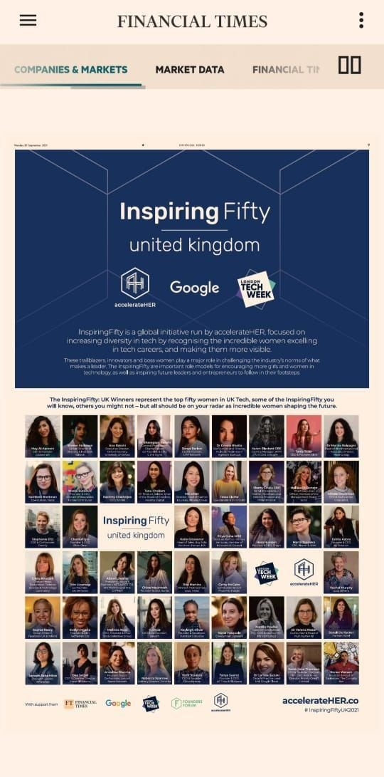 Fabulous seeing the @Inspiringfifty in the @FinancialTimes BIG thanks to @accelerate_HER for the experience! ❤️