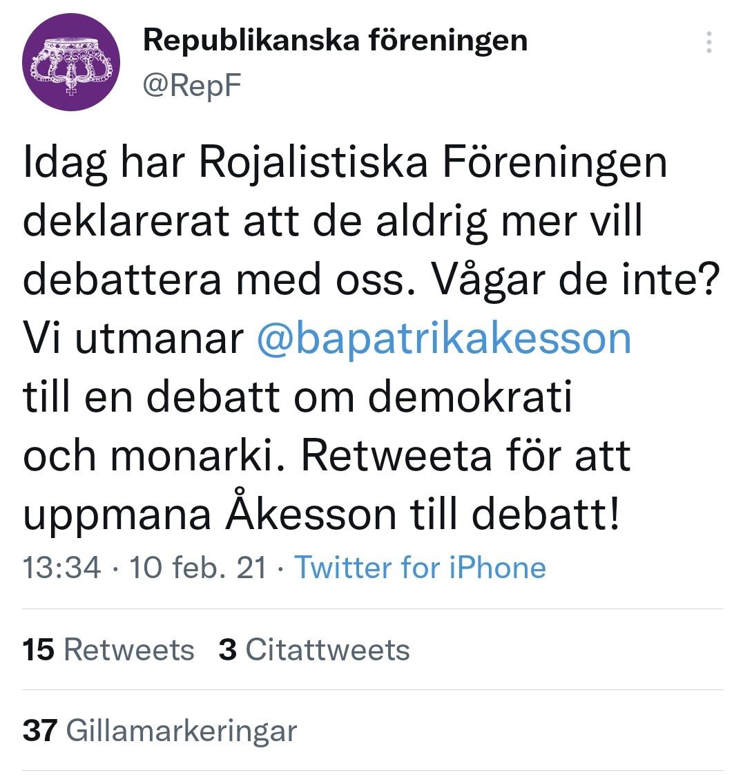 I februari i år deklarerade Rojalistiska Föreningen att man aldrig mer ska debattera med @RepF. Trots sina vurm för gamla grejer verkar minnet kort. Redan 7 månader senare har de tydligen gjort en kovändning. aftonbladet.se/a/L5PrqR