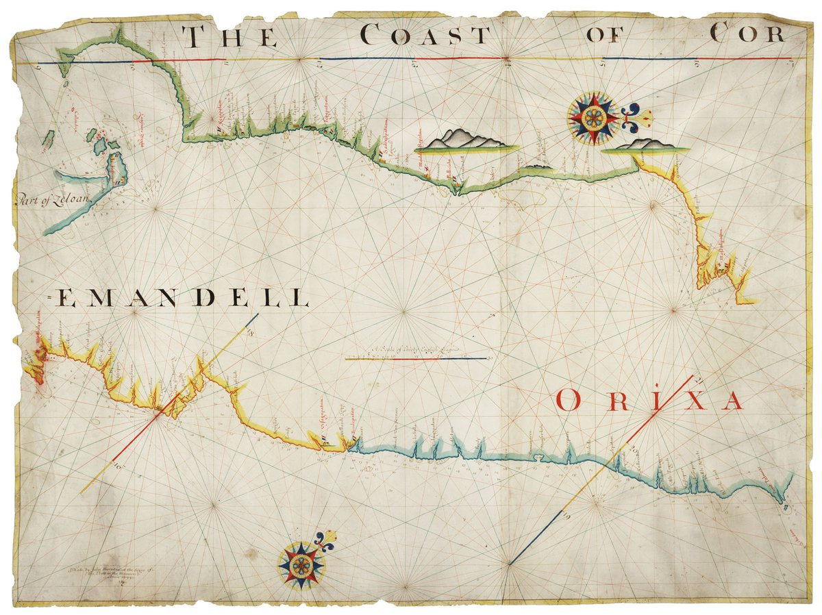 Navigational charts of the Coromandel coast (east coast of India) including the island of Zeloan (Ceylon, now Sri Lanka). Drawn by John Thornton in 1699. This map is part of the archive of the Cotton family of Madingley. 📷: 588/P/1