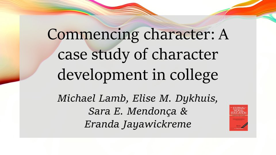 We are grateful to @JournalMoralEd for publishing this article on our work to develop #Character  @WakeForest!  @character_wfu @edmdphd @EJayawickreme https://t.co/VbbUF2ZdEI