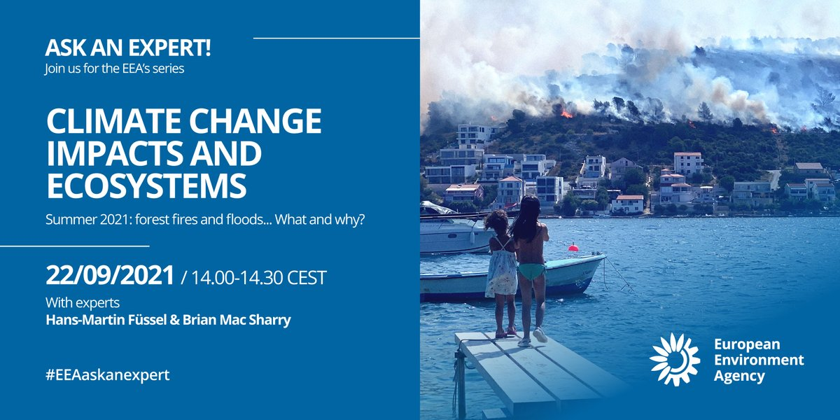 Our next Ask an expert live chat coming up at 14.00 CEST - on #climatechange, #flooding, #forestfires. Understanding climate change impacts in Europe. What next? Join us and ask your questions on Twitter using our hashtag #EEAaskanexpert. fb.me/e/1NHJzvTHf