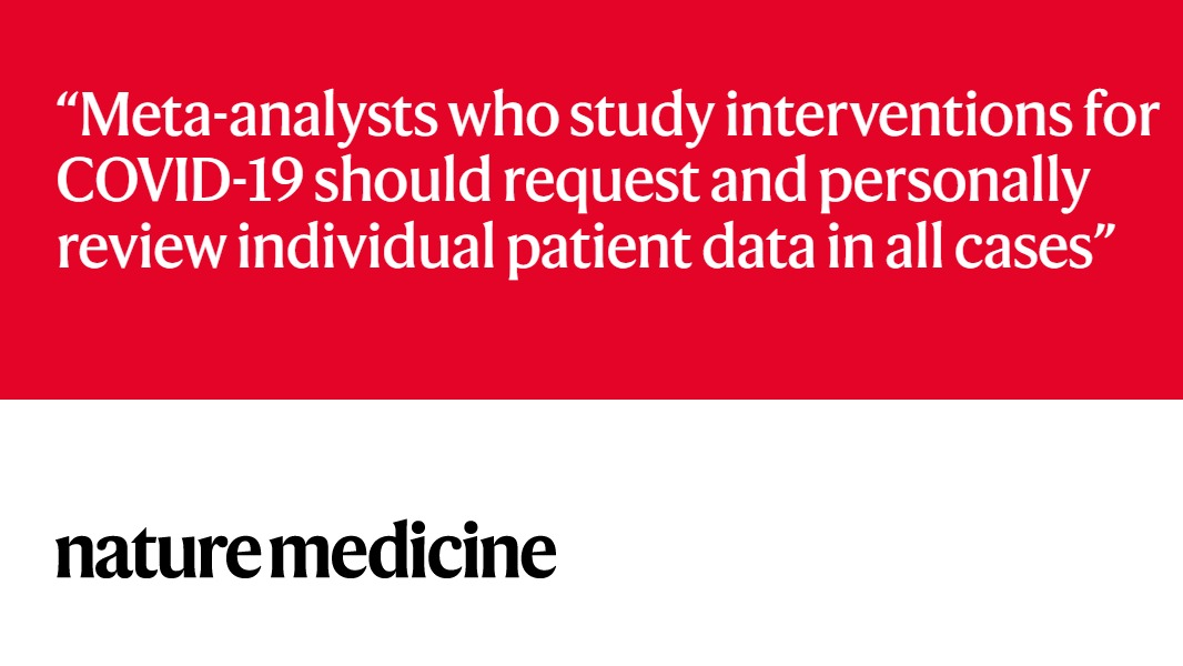 Flaws in ivermectin data suggest that COVID-19 meta-analyses need rethinking Correspondence from Jack Lawrence @GidMK @K_Sheldrick and colleagues nature.com/articles/s4159…